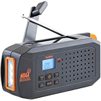 VonHaus NOAA Weather Channel Radio w/ Solar, Dynamo Hand Crank & USB Charging: Portable Weather Radio AM/FM, 7 Weather Service Channels, Emergency LED Flashlight, Carabiner Clip & Cell Phone Charger