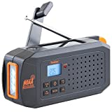 VonHaus NOAA Weather Channel Radio w/Solar, Dynamo Hand Crank & USB Charging: Portable Weather Radio AM/FM, 7 Weather Service Channels, Emergency LED Flashlight, Carabiner Clip & Cell Phone Charger