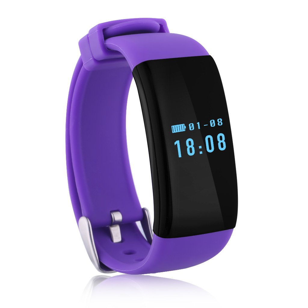 Diggro Dfit Bluetooth防水スマートブレスレット腕時計リストバンドFitness Tracker with Heart Rate Monitor歩数計カロリー睡眠監視アラームコールSedentary Reminder for Android IOS AC-SO-13JU-021462 B01GJQ4FM2 パープル