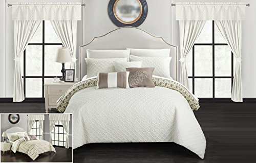 - Chic Home Sigal 20 Piece Comforter Set Reversible Geometric Quilted Design Complete Bed in a Bag Bedding – Sheets Decorative Pillows Shams Window Treatments Curtains Included King Beige