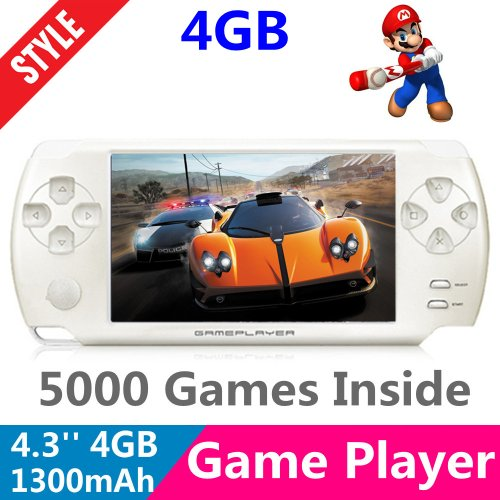 SUBOR 4.3 inch 4GB LCD Handheld Portable Game Console Media Player MP3 MP4 MP5 Support Camera/TV-OUT/TF card/720P Output For NES GBA FC SFC MD(Support game download for the correct format,Build in 5000 Games)-white