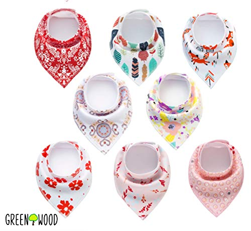 Baby Bandana Drool Bibs 8-Pack for Drooling and Teething - 100% Organic Cotton