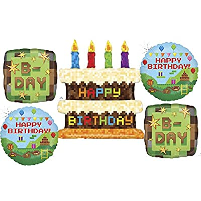American Balloon Company Pixel Video Game Birthday Balloon Bouquet: Toys & Games