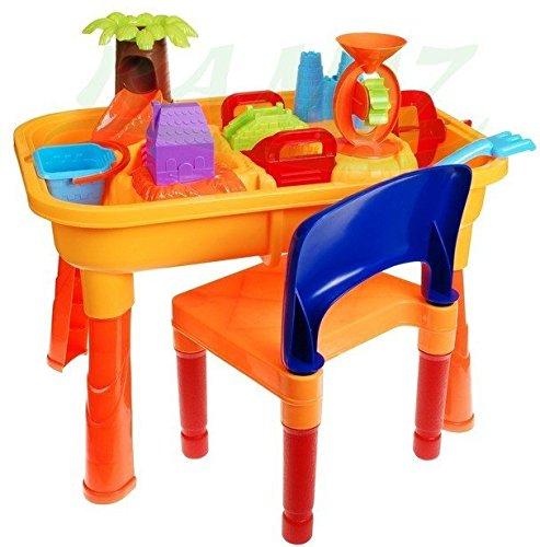 Kinder Spieltisch Sand and Water 8803A mit Stuhl - Sandkasten Tisch - Sandspielset - Wasser- und Sand- Spieltisch mit Zubehör - Sand und Wasser Spieltisch - Sandkastenspielzeug