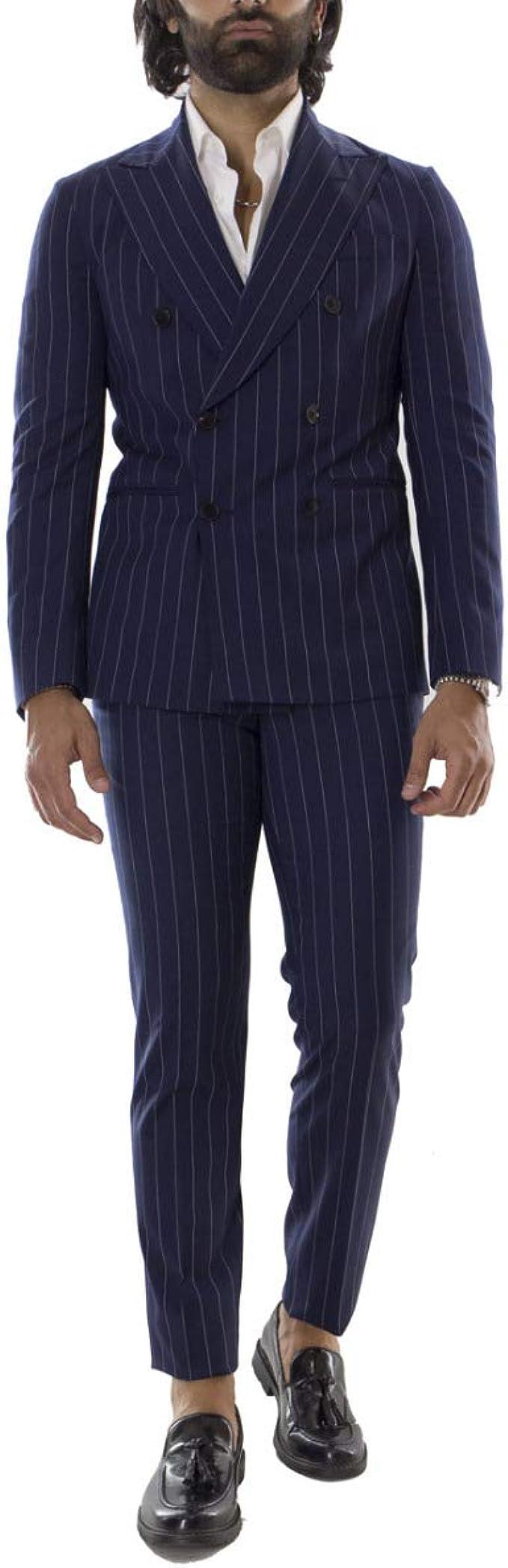 Carillo Moda - Vestido de hombre de doble pecho, con tiza ...