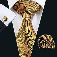 Silk Men's Tie set Necktie Classic Gold Brown Striped 100% Jacquard Woven