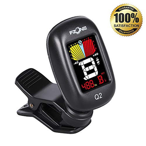 Clip-On Tuner for Guitar, Bass, Violin, Ukulele & Viola, Chromatic Tuning Modes,360 Degree Rotating Digital Electronic Tuner Acoustic with LCD Display