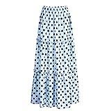 Theixin Plus Size Polka Dot Print Beach Skirt High Waist Mopping Floor Length Big Ruffle Hem Skirt(Blue,M)