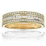 Luxurman Unisex 14K Designer Unique Natural 0.5 Ctw Diamond Wedding Band Ring (Yellow Gold Size 9)