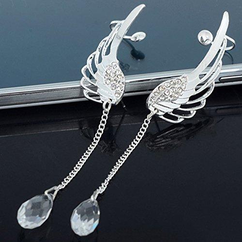 Women Angel Wings Rhinestone Ear Stud Dangle Earrings Jewelry - 6