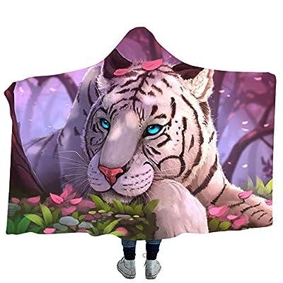 YJZ Tiger 3D Hooded Blanket Soft Sherpa Fleece Blankets for Adults Cozy Bathrobes Cloak Hood Bath Blanket with Hood,2,Kids