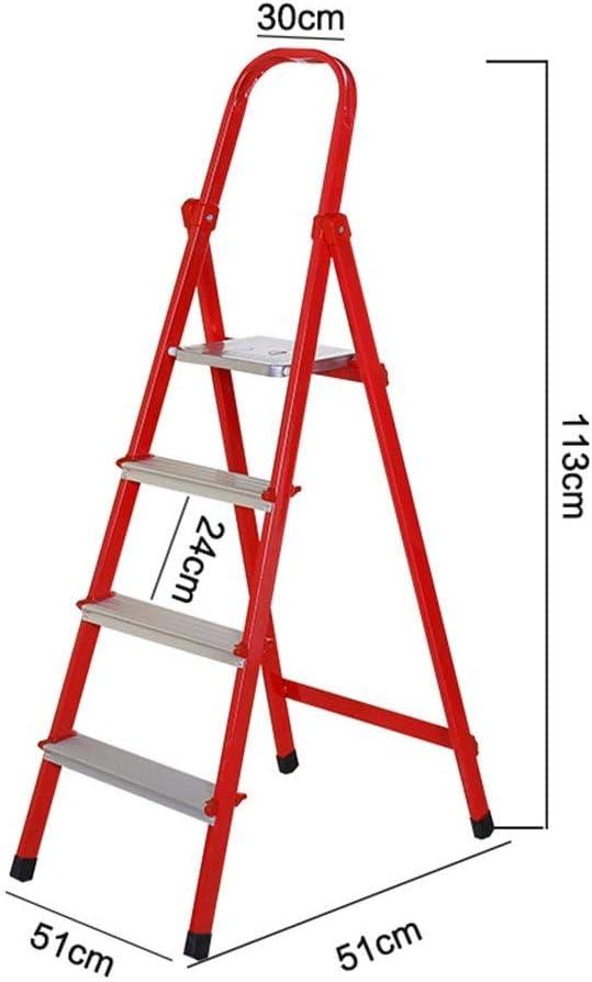 Multifuncional Las escaleras de mano de metal, cuatro pasos de escalera móvil portátil de escalera de tijera al aire libre rojo, plata, blanco 150KG máximo de carga estable: Amazon.es: Bricolaje y herramientas