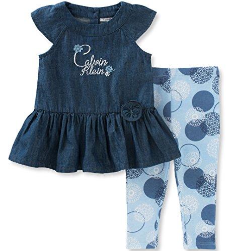 2 Piece Denim Set (Calvin Klein Baby Girls' 2 Pieces Tunic Pant Set-Denim, Navy, 24M)