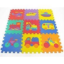 "ProSource Kids ""On The Move"" Interlocking Puzzle 9 Tiles Foam Play Mat"
