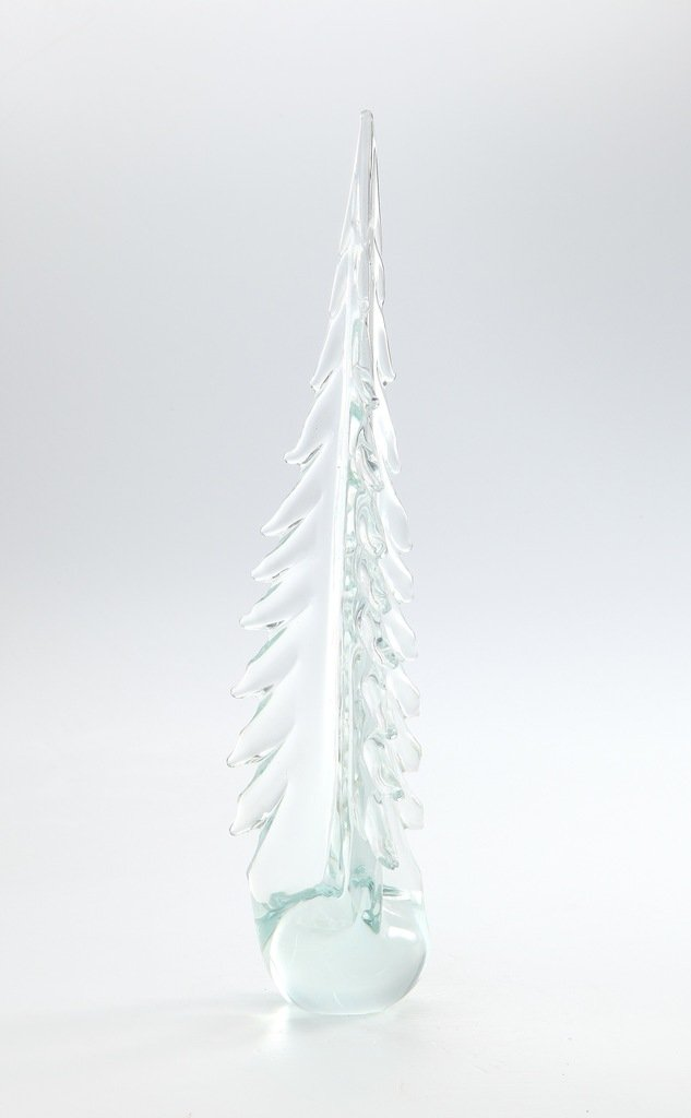 Large Clear Hand Blown Glass Murano Art Christmas Tree Sculpture