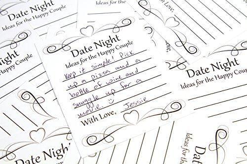 Date Night Idea Card Game for Wedding Reception, Bridal Shower, Engagement Party or Rehearsal Dinner. (50 ct.) Learn the Secrets to Keeping Your Marriage Fresh. (Shower Ideas Wedding)
