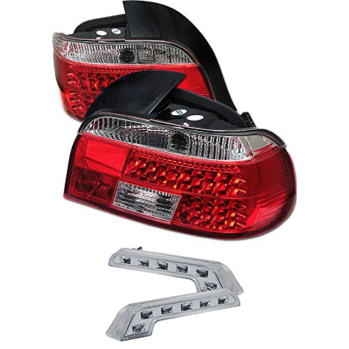 Carpart4u BMW E39 5-Series LED Transparent Red Tail Lights & LED Day Time Running Light Package ()