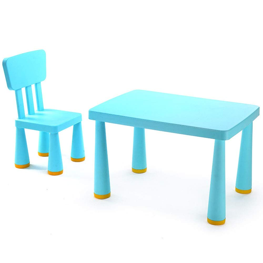 Limaomao-Home Kids' Desks Children's Plastic Table and Chair Set Indoor Or Outdoor Blue Pink That Make Doing Homework More Fun (Color : Blue, Size : 77x54.5x48.5/66.5x30.5cm) by Limaomao-Home