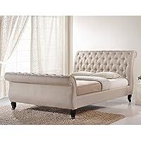 Baxton Studio Marietta Tufted Upholstered Sleigh Platform Bed