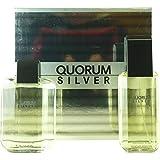 QUORUM SILVER by Antonio Puig Gift Set for MEN: EDT SPRAY 3.4 OZ & AFTERSHAVE 3.4 OZ