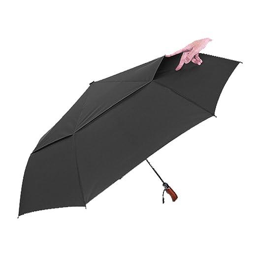 Paraguas De Viaje Compacto Construcción De Toldo Doble A Prueba De Viento - Botón De Cierre Automático Para Una Sola Mano - Robusto Portátil,DarkBlue: ...