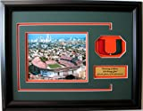 NCAA Miami Hurricanes The Orange Bowl Framed Landscape Photo with Team Patch and Nameplate