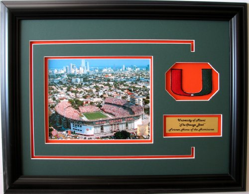 NCAA Miami Hurricanes The Orange Bowl Framed Landscape Photo with Team Patch and Nameplate by CGI Sports Memories