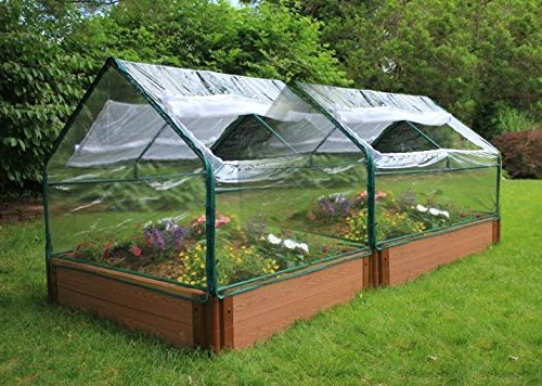 Composite Wood Timbers Raised Garden Bed with 2 Greenhouses