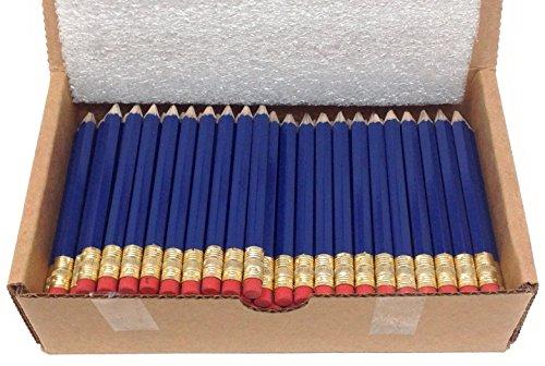 Half Pencils with Eraser, Golf, Classroom, Church, Hexagon, 2 Pencil, Sharpened, Box of 144. Color: Navy Blue