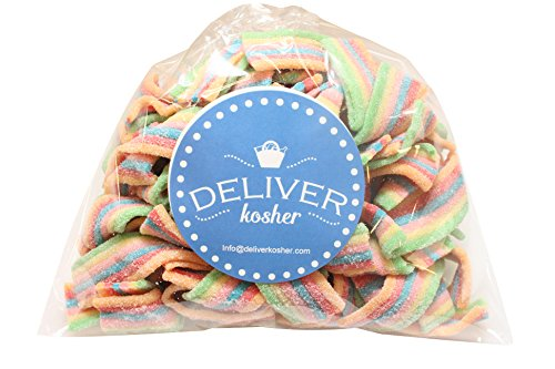 Deliver Kosher Bulk Candy - Rainbow Sour Belts - 1lb Bag