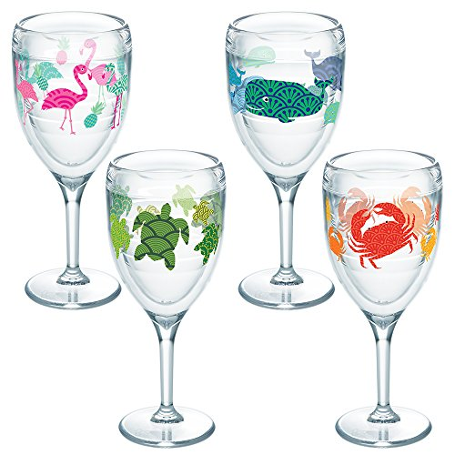Tervis 1254512 Flamingo Whale Turtle Crab Pattern, Wine Glass, - Turtle Pattern Glasses