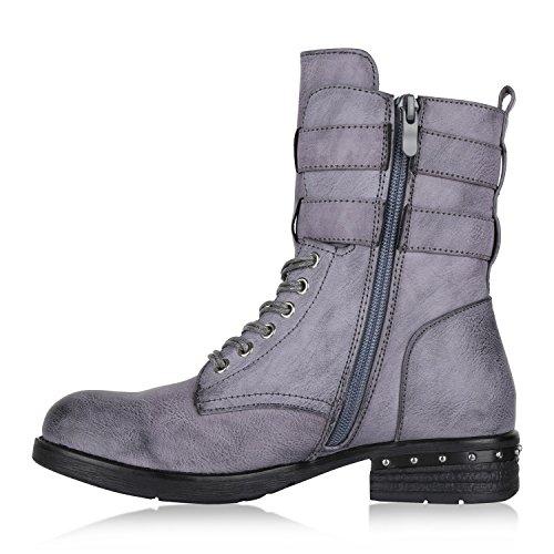 Stiefelparadies Damen Schuhe Biker Boots Winter Plateau Booties Gefütterte Stiefel Nieten Flandell Grau Blau Nieten Nieten