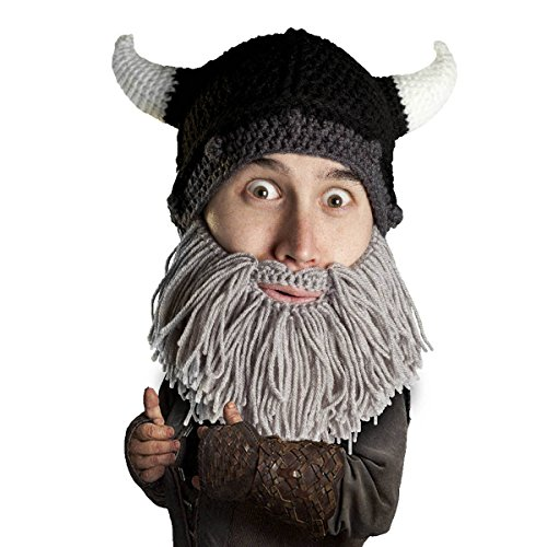 Beard Head Viking Looter Beard Beanie - Funny Knit Horned Hat and Fake Beard Grey]()