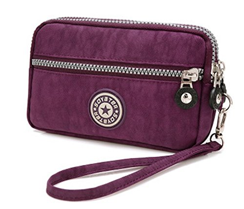 (Nylon Wristlet Bag Purse Water Resistant Clutch Handbag Cellphone Pouch for Samsung Galaxy Note 9 / S9 Active/iPhone Xs Max/iPhone XR/Google Pixel 3 XL/LG V40 ThinQ/LG Stylo 4 Plus (Purple))