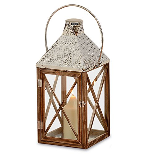 Whole House Worlds The Crosby Street Cross Post Candle Lantern Hurricane, Silver Hammered Metal, Sustainable Pine Wood, Glass, 21 5/8 Inches Tall
