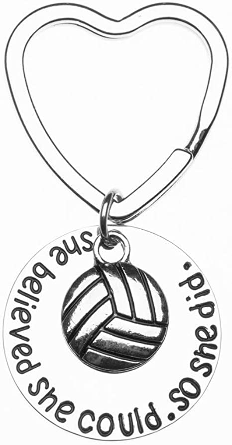Perfect Volleyball Gifts for Volleyball Players Girls Volleyball She Believed She Could So She Did Paracord Keychain I Love Volleyball Paracord Keychain Sportybella Volleyball Gift