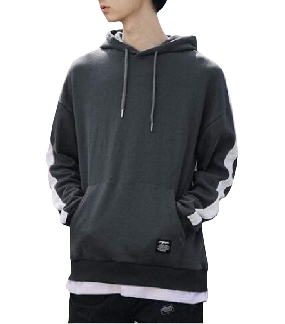 Cromoncent Mens Long-Sleeve Slim Hoodie Spliced Pullover Sweatshirts