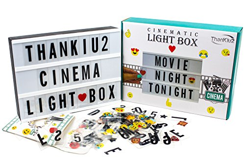 Cinema Light Box with Letters - Vintage Cinematic Light Up Message And Note Sign With 192 Letters, Numbers, Symbols & Emojis - Personalized A4 White LED Lightbox With Extra Long Durable USB Cable]()