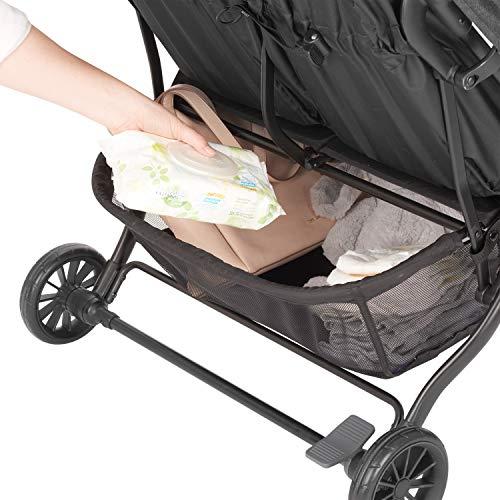 51sGDED6fKL - Evenflo Aero2 Ultra-Lightweight Double Strollers, Compact, Self-Standing Folding Design, Shopping Basket Single-Child Mode, Seatback Storage Pocket, 2 Mesh In-Seat Pockets, 50-lb Per Seat, Osprey Gray