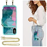 ZVE Case for Apple iPhone Xs and X, 5.8 inch, Wallet Case with Crossbody Chain Credit Card Holder Slot Zipper Shoulder Handbag Purse Wrist Strap Print Case Cover for Apple iPhone X and XS - Diamond