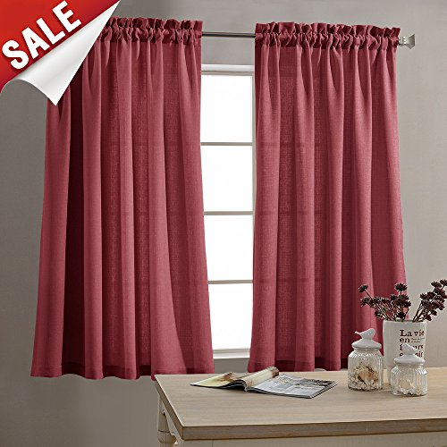 Tier Curtains For Kitchen 45 Inch Small Privacy Semi Sheer T