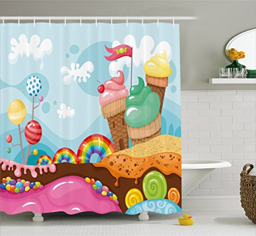 Ambesonne Ice Cream Decor Shower Curtain, Dessert Land with Rainbow Candies Lollipop Trees Cupcake Mountains Cartoon, Fabric Bathroom Decor Set with Hooks, 70 Inches, Multicolor (Cartoon Cake)