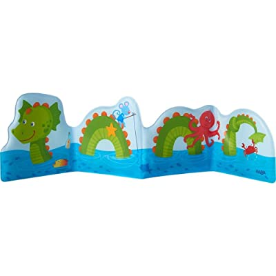 HABA Baby Bath Book Water Dragon Fridolin & Sea Friends - Fanfold Style with 8 Pages Floats Upright in The Bath or Kiddie Pool: Toys & Games