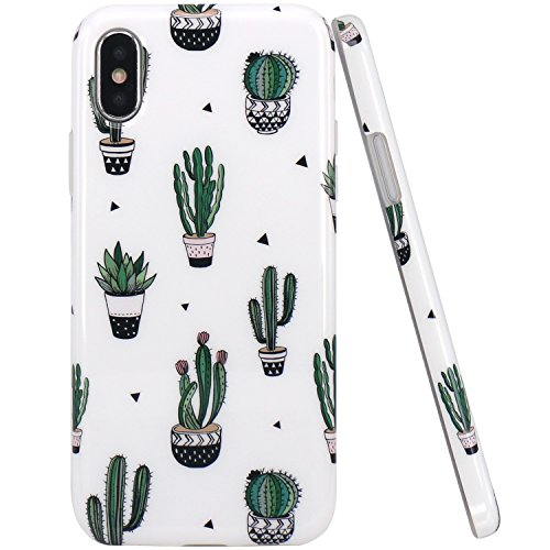 JAHOLAN Green Cute Cactus Design Clear Bumper TPU Soft Rubber Silicone Cover Phone Case for iPhone Xs 2018 / iPhone X 2017 5.8 inch