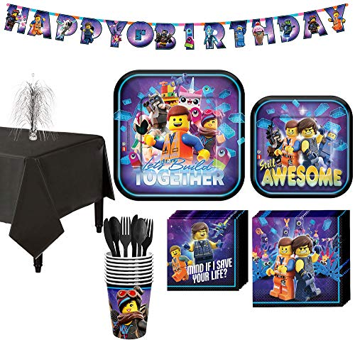 Party City The LEGO Movie 2: The Second Part Tableware Supplies for 8 Guests, Includes Table Cover, Banner Kit]()