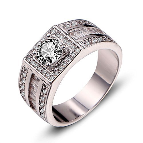 - Huanhuan Men's Vintage Band White Sapphire CZ White Gold Filled Wedding Ring Size 11