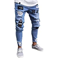 Chickwin Pantalones Vaqueros Hombre Rotos, Skinny Slim Fit Insignia Largos de Mezclilla de Cintura Baja de Pitillo…