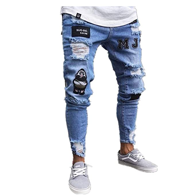 Chickwin Mens Skinny Slim Fits Jeans, Hip Hop Hole Low ...