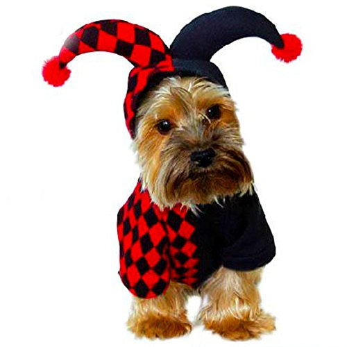[Hemiks Elf Pet Dog Cat Christmas Xmas Costume Santa Pet Apparel Three Dimensional Winter Clothes (L, Halloween Clown)] (Mini Dachshund Halloween Costumes)