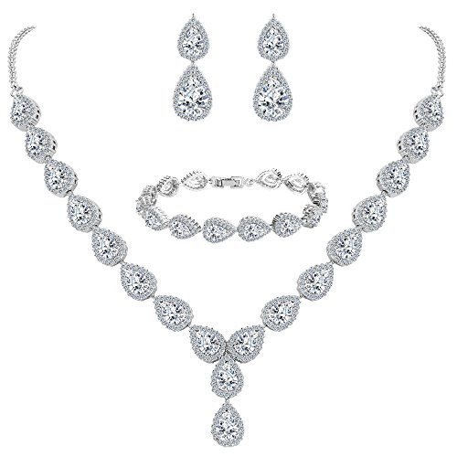 BriLove Women's Wedding Bridal Jewelry Set Y-Necklace Tennis Bracelet Dangle Earrings Set with Teardrop CZ Infinity Figure 8 Clear Silver-Tone April Birthstone by BriLove